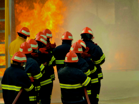 Fire-fighting training in Indonesia